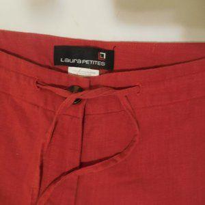 Ladies Linen Red Pants Size 10 Laura